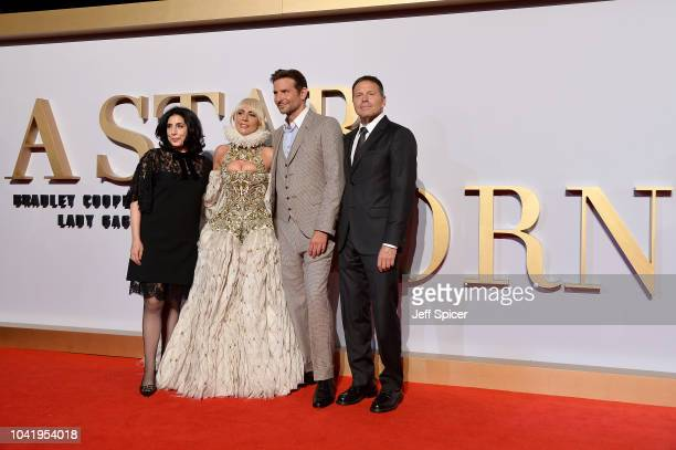 Executive producer Sue Kroll actors Lady Gaga and Bradley Cooper and producer Bill Gerber at 'A Star Is Born' UK Premiere at Vue West End on...