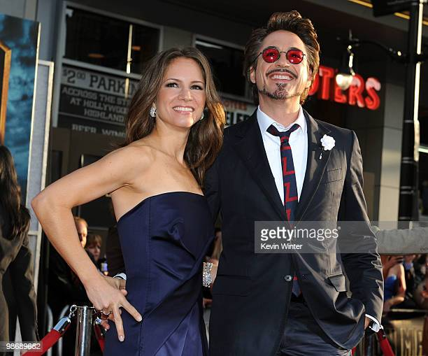 """Executive producer Susan Downey and actor Robert Downey Jr. Arrive at the world premiere of Paramount Pictures and Marvel Entertainment's """"Iron Man..."""
