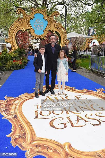 Executive Producer Tim Burton with his children Billy and Nell attend the European Premiere of Alice Through The Looking Glass at Odeon Leicester...