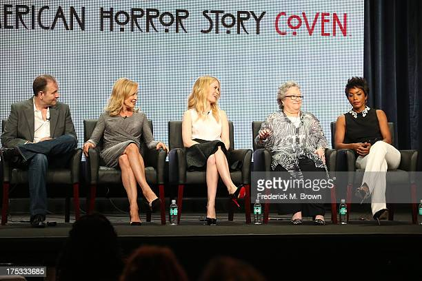 Executive Producer Tim Minear and actresses Jessica Lange Sarah Paulson Kathy Bates and Angela Bassett speak onstage during the 'American Horror...