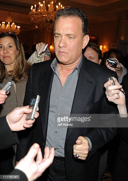 Executive producer Tom Hanks speaks during the HBO portion of the 2010 Television Critics Association Press Tour at the Langham Hotel on January 14,...