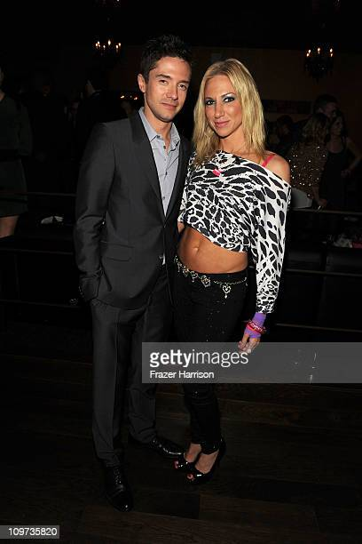 Executive Producer Topher Grace and singer Debbie Gibson attend Relativity Media presents the premiere of Take Me Home Tonight after party held at...