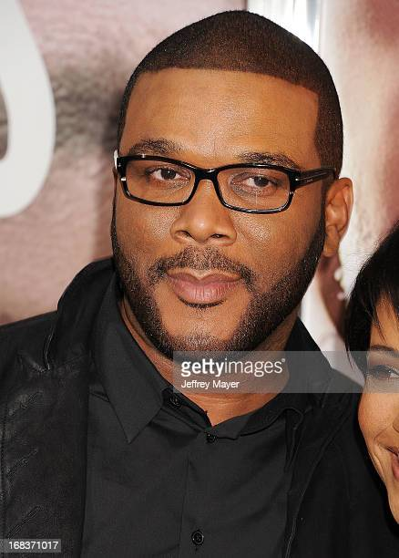 Executive producer Tyler Perry arrives at the premiere of 'Peeples' presented by Lionsgate Film and Tyler Perry at ArcLight Hollywood on May 8 2013...
