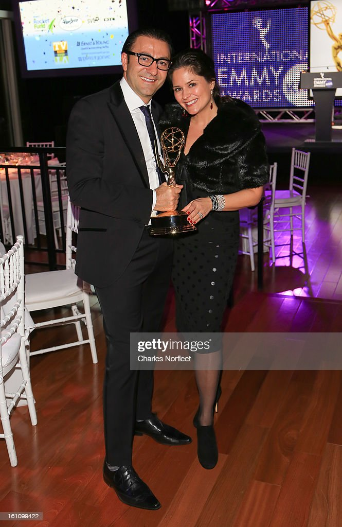 Executive Producer Vahan Yepremyan of Ketchup Enertainment, with the Kids: TV Movie/Mini-Series Emmy Award for 'Lost Christmas' and his wife Tanya Memme, host of A&E television show 'Sell This House' attend The Inaugural International Emmy Kids Awards at The Lighthouse at Chelsea Piers on February 8, 2013 in New York City.