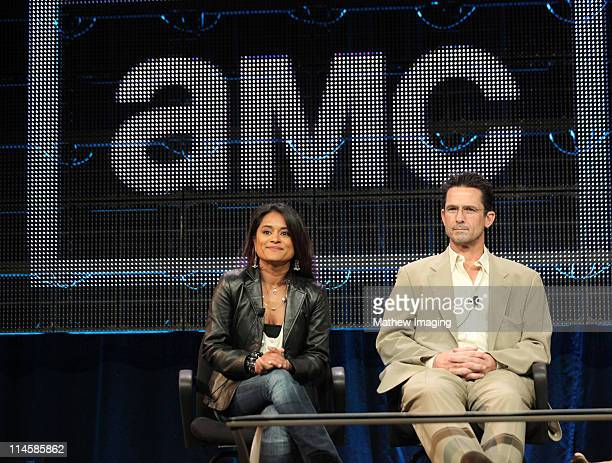 Executive producer Veena Sud and actor Billy Campbell of the show The Killing attends the AMC Winter 2011 TCA Panel at the Langham Hotel on January 7...