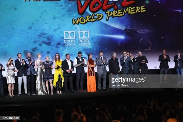 Executive producer Victoria Alonso actors David Hasselhoff Chris Sullivan Elizabeth Debicki Pom Klementieff Karen Gillan Sylvester Stallone Dave...