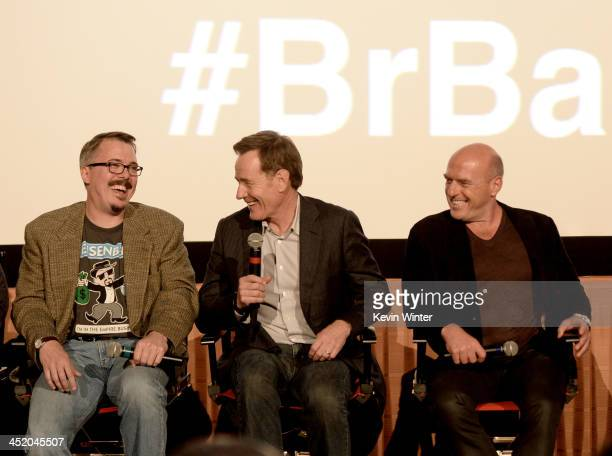 Executive Producer Vince Gilligan actors Bryan Cranston and Dean Norris speak at a Q A session after a screening of No Half Measures Creating The...
