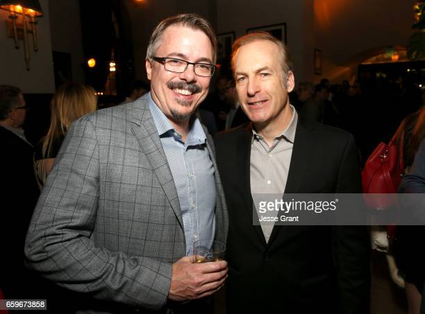 Executive Producer Vince Gilligan and actor Bob Odenkirk attend AMC's 'Better Call Saul' season 3 premiere at ArcLight Cinemas on March 28 2017 in...