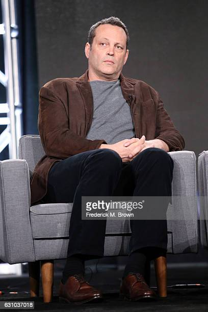 Executive producer Vince Vaughn of ATT's 'Undeniable with Joe Buck' and 'Fear with Tim Ferriss' speaks onstage during day one of the 2017 Winter TCA...