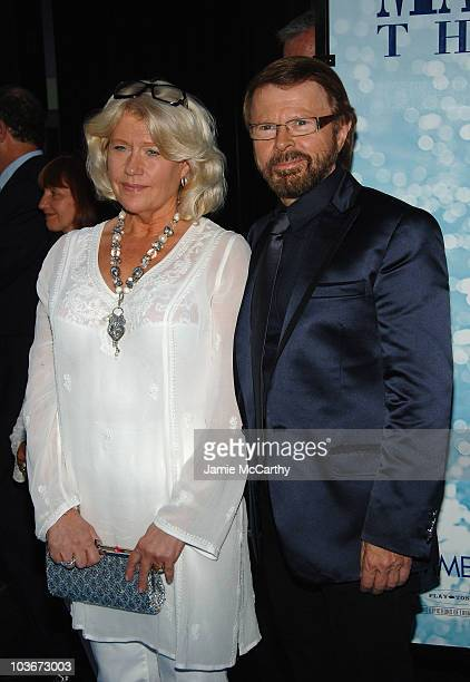 Executive Producer/ABBA founding member Bjorn Ulvaeus and wife Lena Kallersjo attend the premiere of Mamma Mia at the Ziegfeld Theatre on July 16...