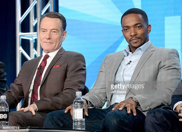 Executive producer/actor Bryan Cranston and Actor Anthony Mackie of 'All The Way' speak onstage during the HBO Winter 2016 TCA Panel at Langham Hotel...