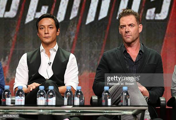 Executive producer/actor Daniel Wu and actor Marton Csokas speak onstage during the 'Into the Badlands' panel discussion at the AMC/IFC Networks...