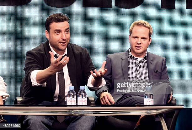 Executive producer/actor David Krumholtz and coproducer/actor Ricky Mabe speak onstage during the 'Gigi Does It' panel discussion at the AMC/IFC...