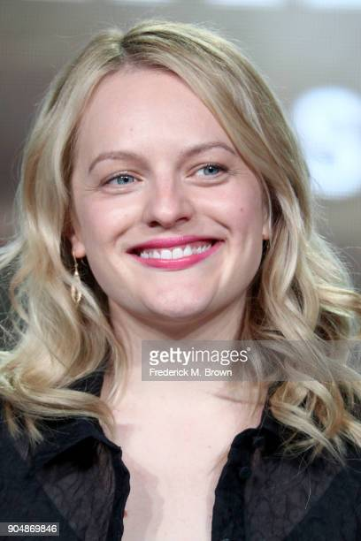 Executive producer/actor Elisabeth Moss of 'The Handmaid's Tale' speaks onstage during the Hulu portion of the 2018 Winter Television Critics...