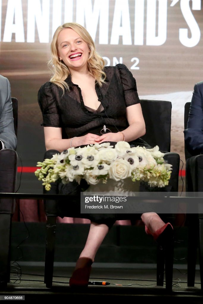 Executive producer/actor Elisabeth Moss of 'The Handmaid's Tale' speaks onstage during the Hulu portion of the 2018 Winter Television Critics Association Press Tour at The Langham Huntington, Pasadena on January 14, 2018 in Pasadena, California.