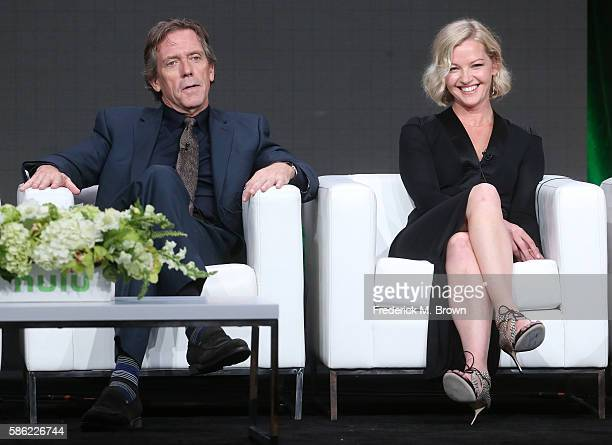 Executive producer/actor Hugh Laurie and actress Gretchen Mol speak onstage at the 'Chance' panel discussion during the Hulu portion of the 2016...
