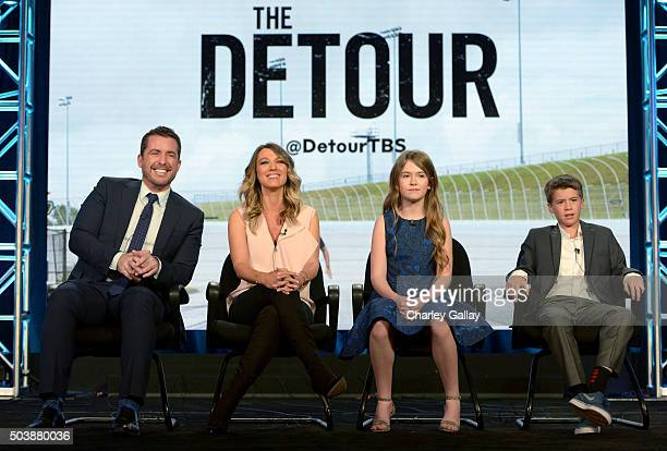 Executive producer/actor Jason Jones actors Natalie Zea Ashley Gerasimovich and Liam Carroll of The Detour speak onstage during the 2016 TCA Turner...