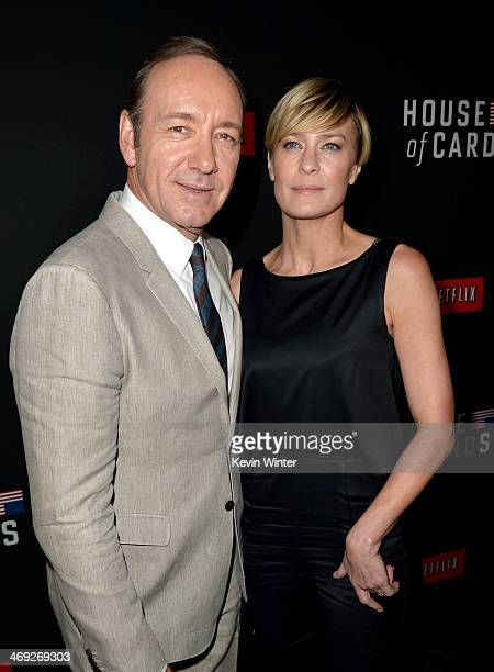 Executive producer/actor Kevin Spacey and actress Robin Wright arrive at the special screening of Netflix's 'House of Cards' Season 2 at the...