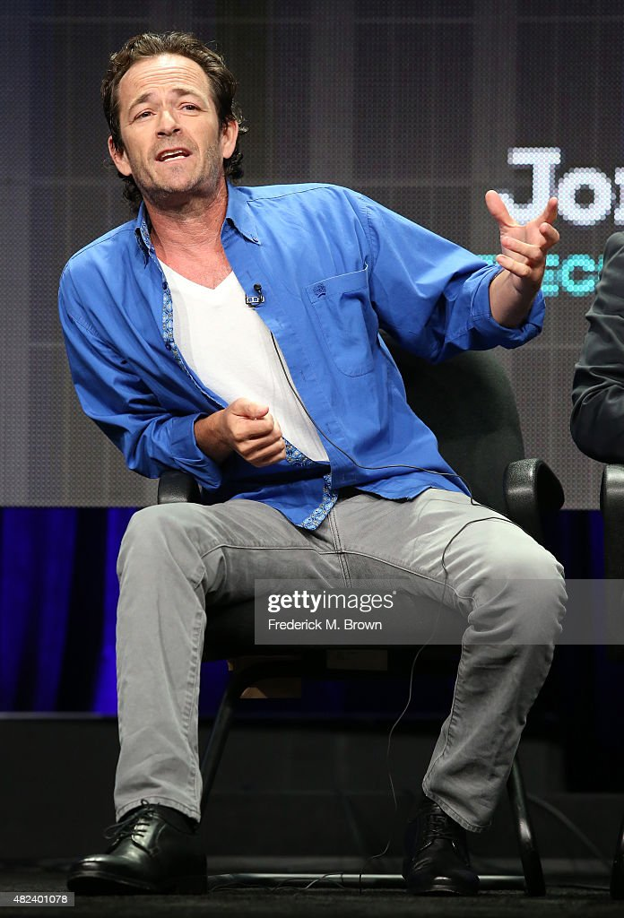 Executive producer/actor Luke Perry speaks onstage during the 'Welcome Home' panel discussion at the UP Entertainment portion of the 2015 Summer TCA Tour at The Beverly Hilton Hotel on July 30, 2015 in Beverly Hills, California.