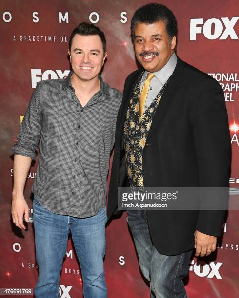 Executive producer/actor Seth MacFarlane and astrophysicist/author Neil deGrasse Tyson attend the premiere of Fox's 'Cosmos A SpaceTime Odyssey' at...