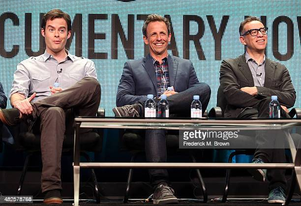 Executive producer/actors Bill Hader Seth Meyers and Fred Armisen speak onstage during the 'Documentary Now' panel discussion at the AMC/IFC Networks...