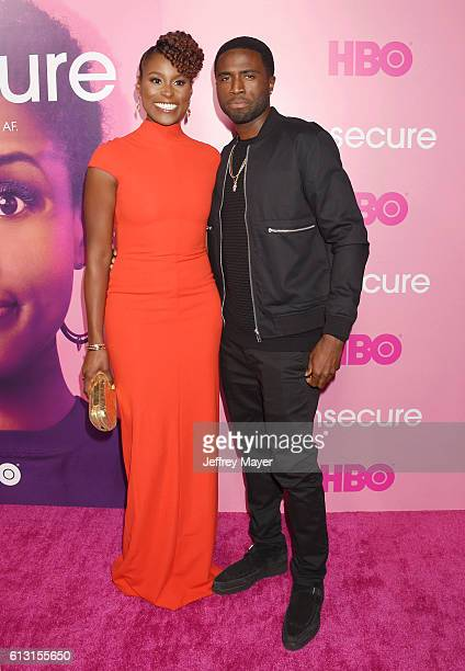 Executive producer/actress Issa Rae and actor Y'Lan Noel attend the premiere of 'Insecure' at Nate Holden Performing Arts Center on October 6 2016 in...