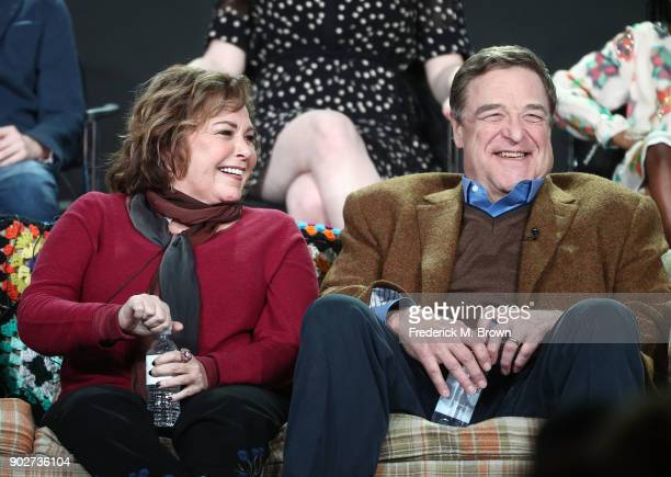 Executive producer/actress Roseanne Barr and actor John Goodman of the television show Roseanne react onstage during the ABC Television/Disney...