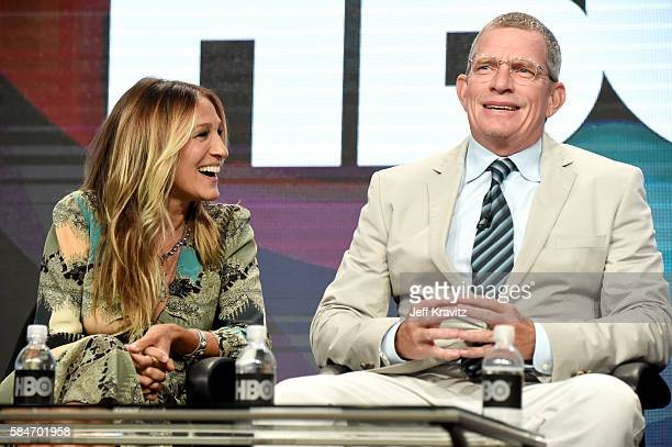 Executive producer/actress Sarah Jessica Parker and actor Thomas Haden Church speak onstage during the 'Divorce' panel discussion at the HBO portion...