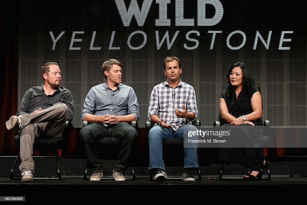 Executive producer/CEO and Founder of Brain Farm Curt Mogran, executive producer Chad Jackson, field producer Tom Stephens and SVP, Production & Development at Nat Geo Wild Janet Han Vissering speak onstage during the 'Wild Yellowstone' panel discussion at the National Geographic Channel portion of the 2015 Summer TCA Tour at The Beverly Hilton Hotel on July 29, 2015 in Beverly Hills, California.