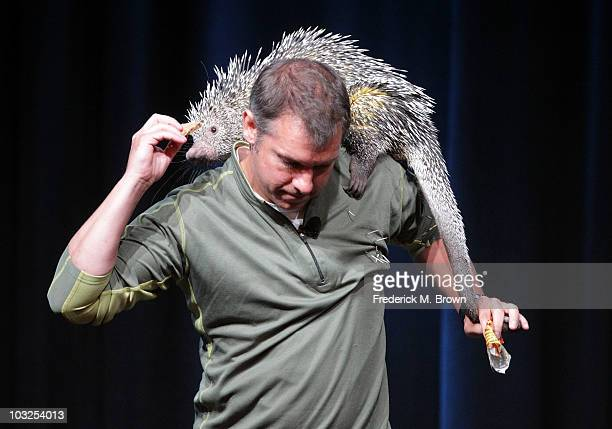 Executive producer/cocreator Chris Kratt of the television show Wild Kratts holds a Porcupine during the PBS portion of the 2010 Summer TCA Press...