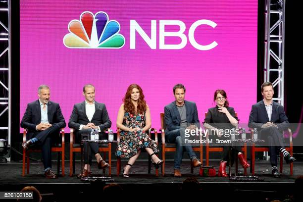 Executive producer/cocreators David Kohan and Max Mutchnick and actors Debra Messing Eric McCormack Megan Mullally and Sean Hayes of 'Will Grace'...