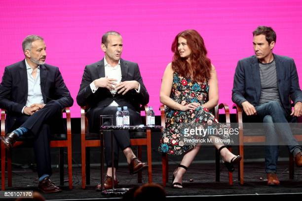 Executive producer/cocreators David Kohan and Max Mutchnick and actors Debra Messing and Eric McCormack of 'Will Grace' speak onstage during the...