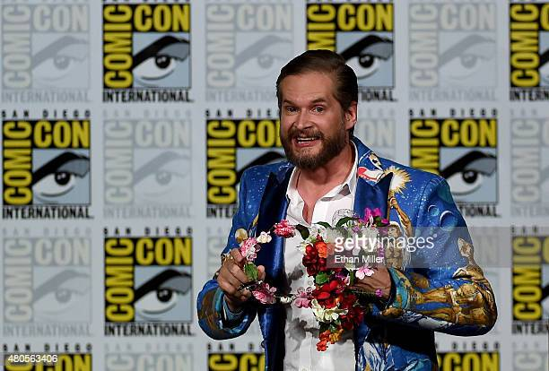 Executive producer/creator Bryan Fuller carries a flower crown as he attends the 'Hannibal' Savor the Hunt panel during ComicCon International 2015...