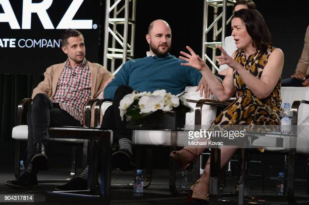Executive producer/creator Justin Marks executive producer Jordan Horowitz and actor Olivia Williams at the STARZ Winter TCA on January 12 2018 in...