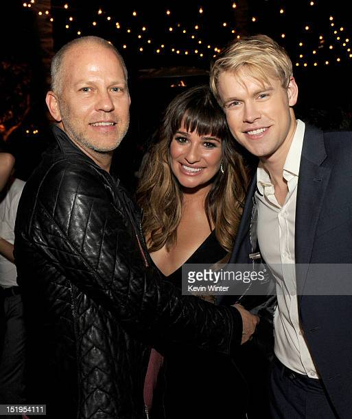 """Executive producer/creator Ryan Murphy, actors Lea Michele and Chord Overstreet pose at the after party for the premiere of Fox Television's """"Glee""""..."""