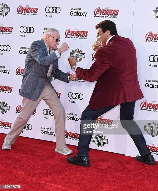 """Executive producer/Creator Stan Lee and actor Lou Ferrigno attend the premiere of Marvel's """"Avengers: Age Of Ultron"""" at Dolby Theatre on April 13,..."""