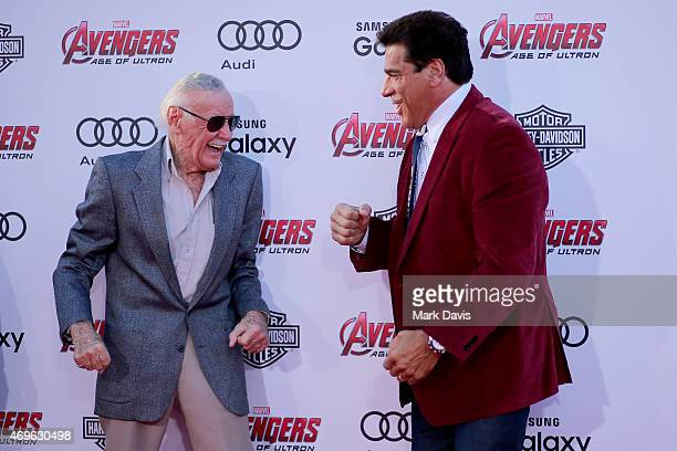Executive producer/Creator Stan Lee and Actor Lou Ferrigno attend the premiere of Marvel's 'Avengers Age Of Ultron' at Dolby Theatre on April 13 2015...