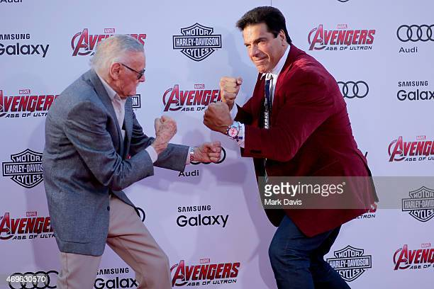 Executive producer/Creator Stan Lee and Actor Lou Ferrigno attend the premiere of Marvel's Avengers Age Of Ultron at Dolby Theatre on April 13 2015...