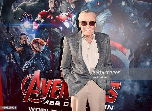 Executive producer/Creator Stan Lee attends the premiere of Marvel's Avengers Age Of Ultron at Dolby Theatre on April 13 2015 in Hollywood California