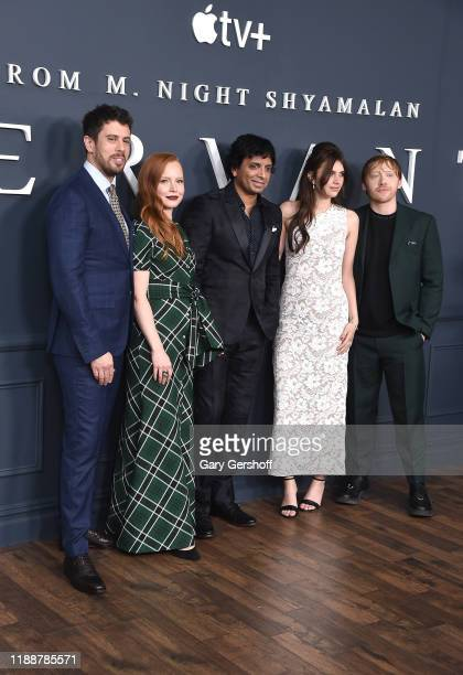 Executive producer/director M Knight Shyalaman with cast members Toby Kebbell Lauren Ambrose Nell Tiger Free and Rupert Grint attend Apple TV's...