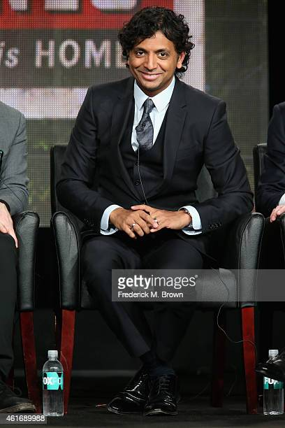 Executive producer/director M. Night Shyamalan speaks onstage during the 'Wayward Pines' panel discussion at the FOX portion of the 2015 Winter TCA...