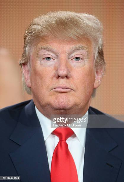 Executive producer/host Donald Trump speaks onstage during the 'The Celebrity Apprentice' panel discussion at the NBC/Universal portion of the 2015...