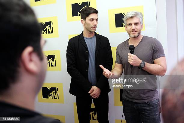 Executive Producer/host Nev Schulman and Catfish host Max Joseph attend the MTV Press Junket Cocktail Party at The London West Hollywood on February...