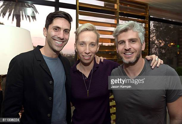 Executive producer/host Nev Schulman Suspect host iO Tillett Wright and Catfish host Max Joseph attend the MTV Press Junket Cocktail Party at The...