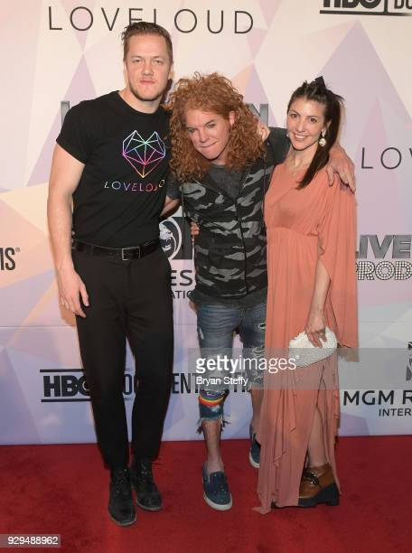 'BELIEVER' Executive Producer/Imagine Dragons frontman Dan Reynolds comedian Carrot Top and singer Aja Volkman attend the screening of the HBO...