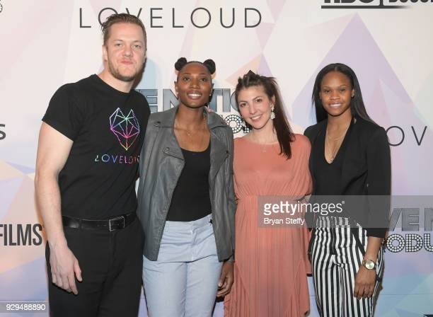 'BELIEVER' Executive Producer/Imagine Dragons frontman Dan Reynolds Las Vegas Aces player Sequoia Holmes singer Aja Volkman and Las Vegas Aces player...