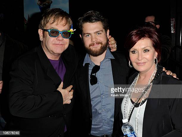 Executive producer/musician Elton John TV personalities Jack Osbourne and his mother Sharon Osbourne pose at the after party for the premiere of...