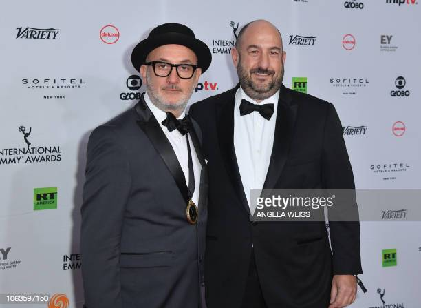 Executive Producers Alejandro Rincon and Fernando Gaston arrive for the 46th International Emmy awards gala in New York City on November 19 2018 The...