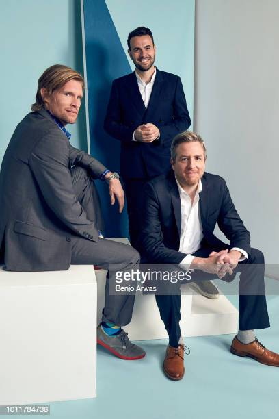 Executive Producers Austen Earl Ben Winston and Tim McAuliffe of CBS's 'Happy Together' pose for a portrait during the 2018 Summer Television Critics...