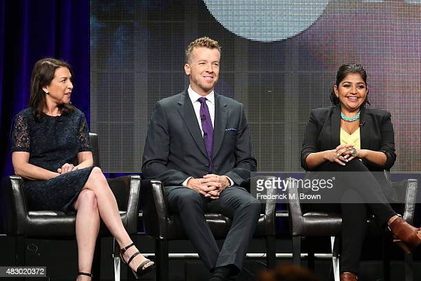 Executive producers Barbara Adler McG and actress Punam Patel speak onstage during the 'Kevin From Work' panel discussion at the ABC Family portion...